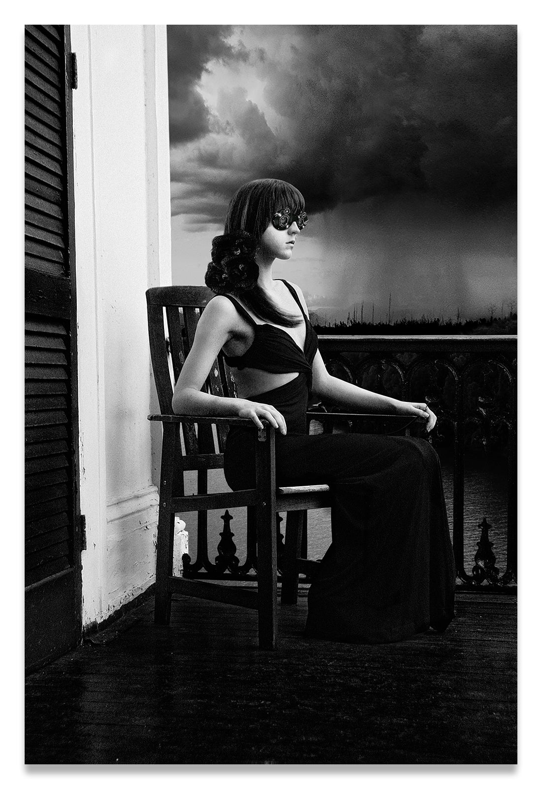 Vertical Black & White of Woman on Antebellum Porch in Louisiana with Lenses for Eyes-Recording Memories of the Thunderstorm- Metal Print-Aluminum Print