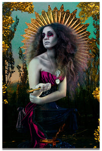 Surreal Mother Mary in Bold Colors Holding Holy Water- Fine Art Print