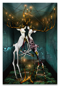 Jewish Folklore-The Guff & The Hall of Souls-Surreal Bucks with Golden Entanglements-Fine Art Print