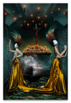 Two Women in The Hall of Souls, Purgatory, defining forever-Metal Print-Aluminum Print