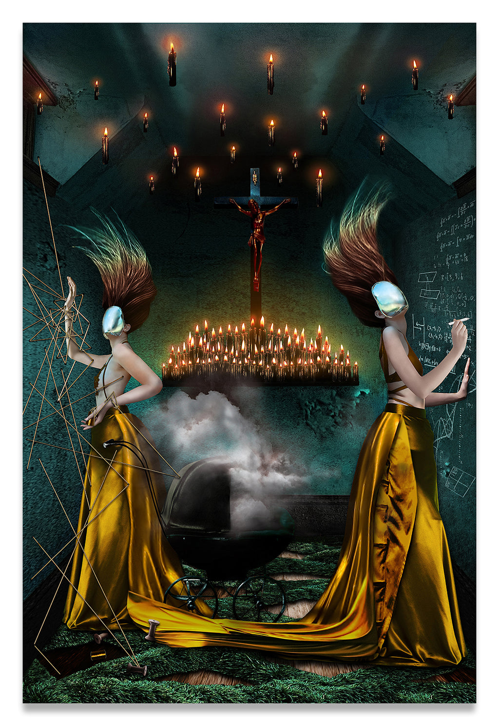 Two Women in The Hall of Souls, Purgatory, defining forever-Fine Art Print