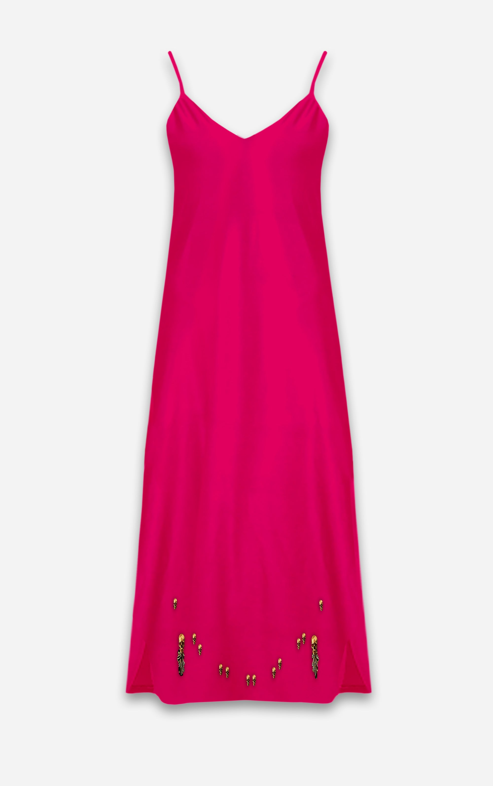 The Others- Baroque Skull- French Gothic V Neck Slip Dress in Bold Fuchsia | Le Leanian™