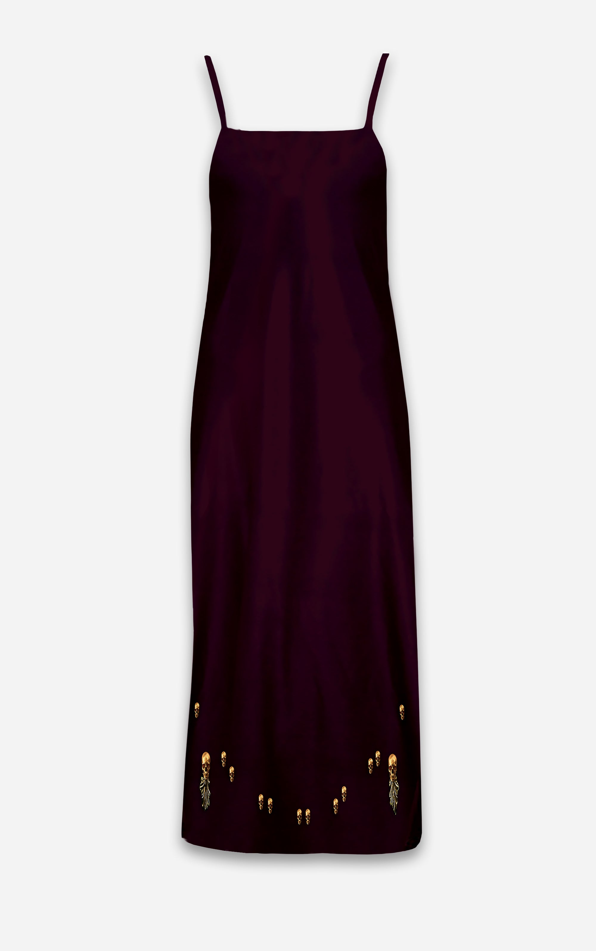 The Others- Baroque Skull- French Gothic V Neck Slip Dress in Eggplant Wine | Le Leanian™