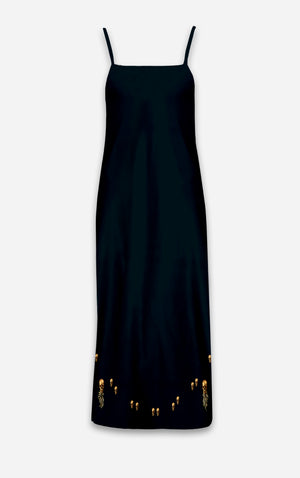 The Others- Baroque Skull- French Gothic V Neck Slip Dress in Midnight Teal | Le Leanian™