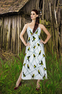 V Neck Slip Dress- Green Sparrow, Bird on a Wire Pattern- Color in Light Gray- Gray