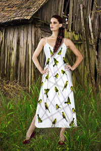 V Neck Slip Dress-Green Sparrows, Birds on a Wire Pattern- Color in White