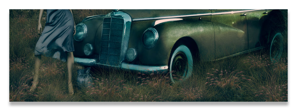 Woman Standing in Front of a Classic Car at Dusk-Muted Color Tones-Metal Print-Aluminum Print