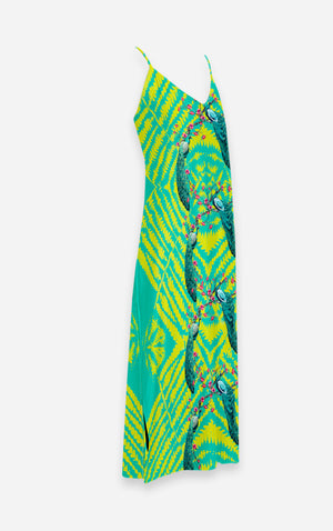 Coastal Peacock- French Gothic V Neck Slip Dress in Loud Teal | Le Leanian™