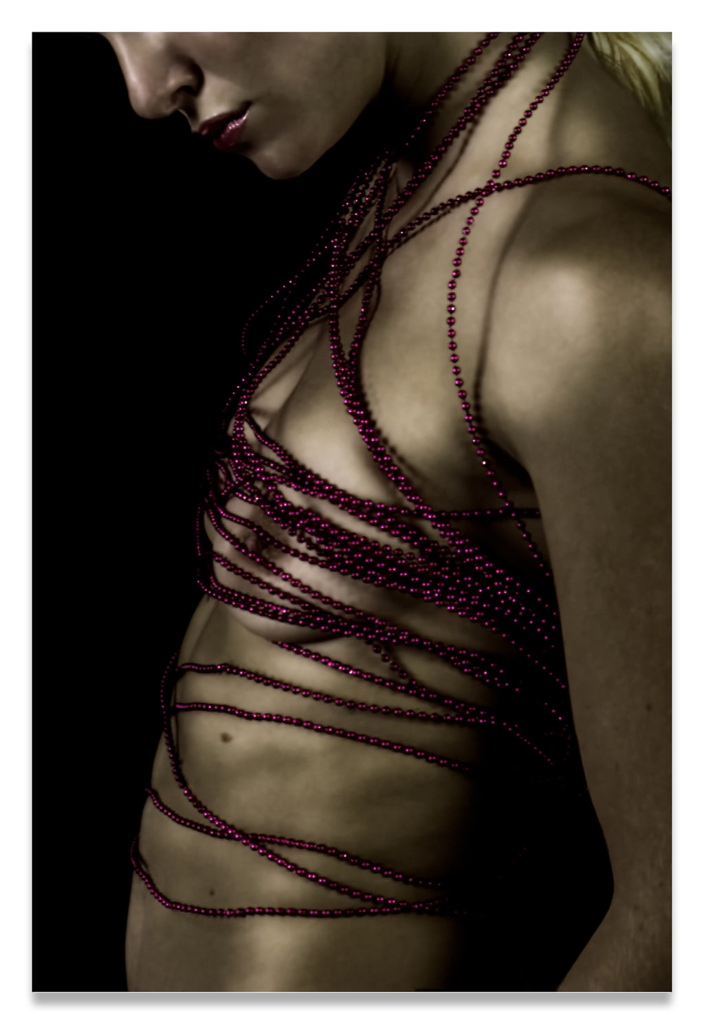 Woman with Crimson Beads Wrapped Around Her Nude Torso-Fine Art Canvas Print