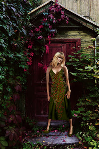 V Neck Slip Dress with Gilded Honey Bee Pattern- Gold Hive- Color- Olive Green