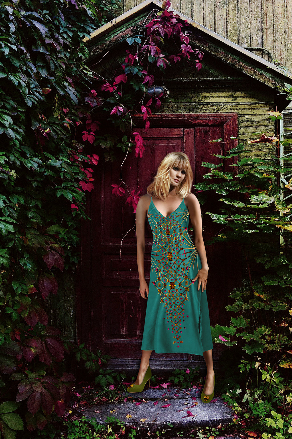 V Neck Slip Dress with Gilded Honey Bee Pattern- Gold Hive- Color-Jade Teal- Blue- Teal- Green