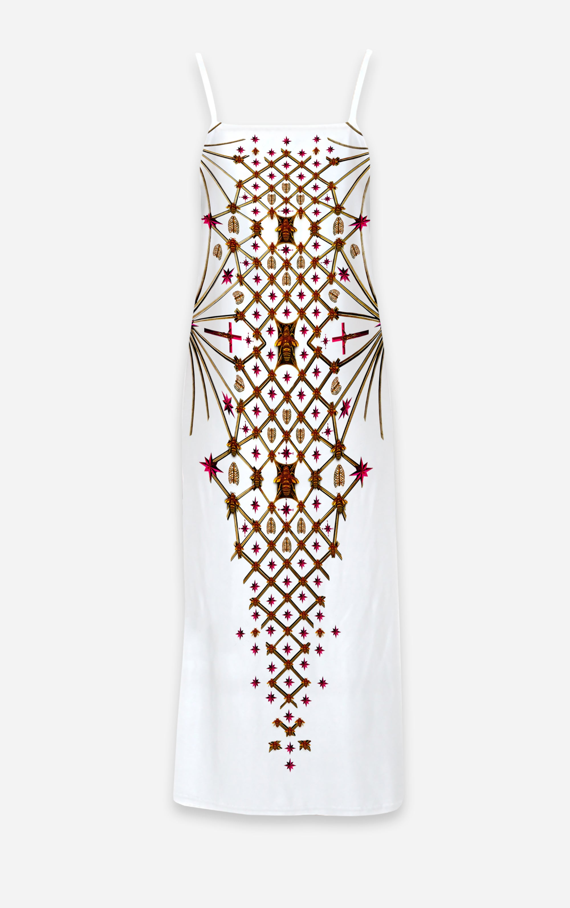 Vee Divergence- French Gothic V Neck Slip Dress in White | Le Leanian™