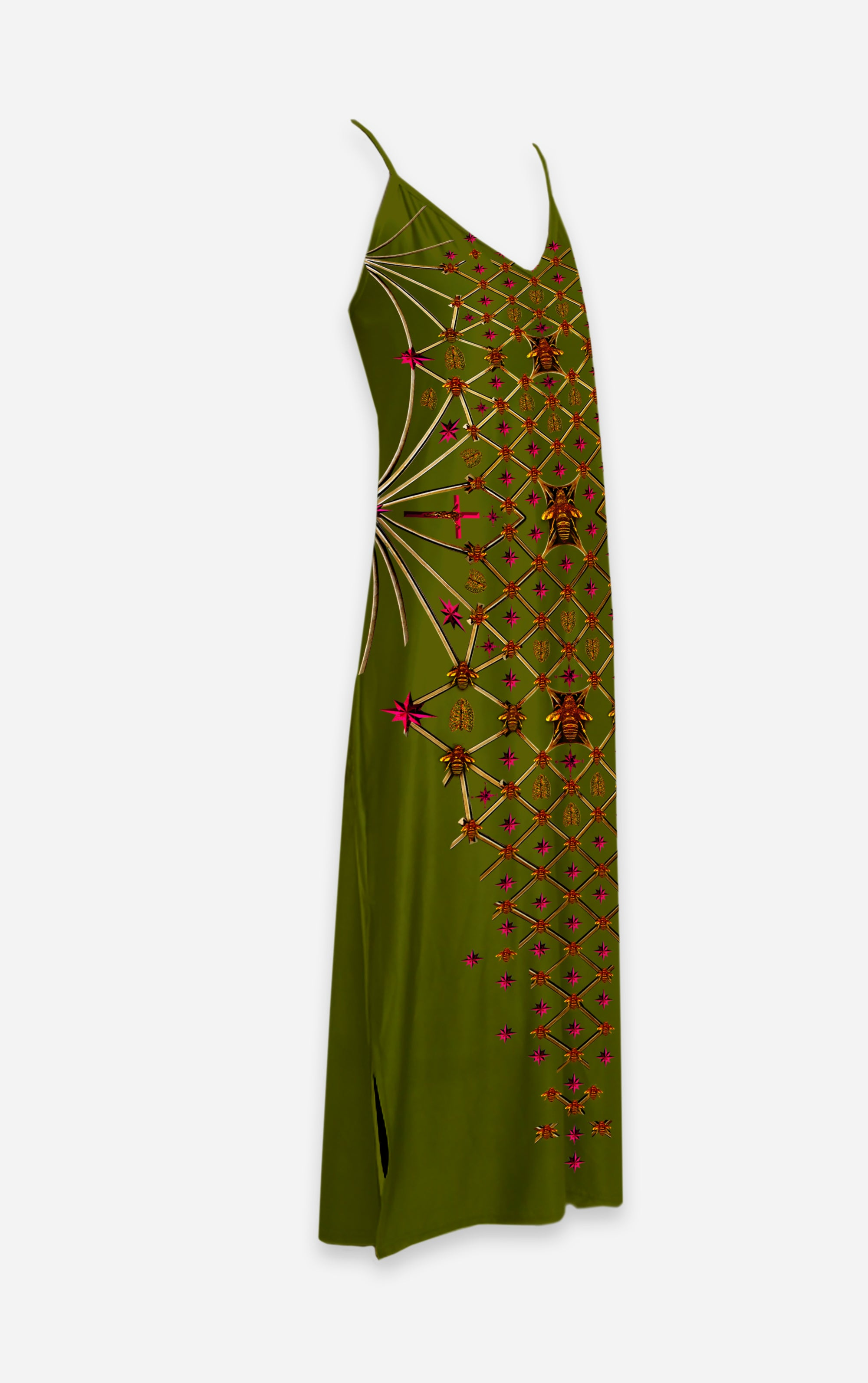 Vee Divergence- French Gothic V Neck Slip Dress in Bold Olive | Le Leanian™