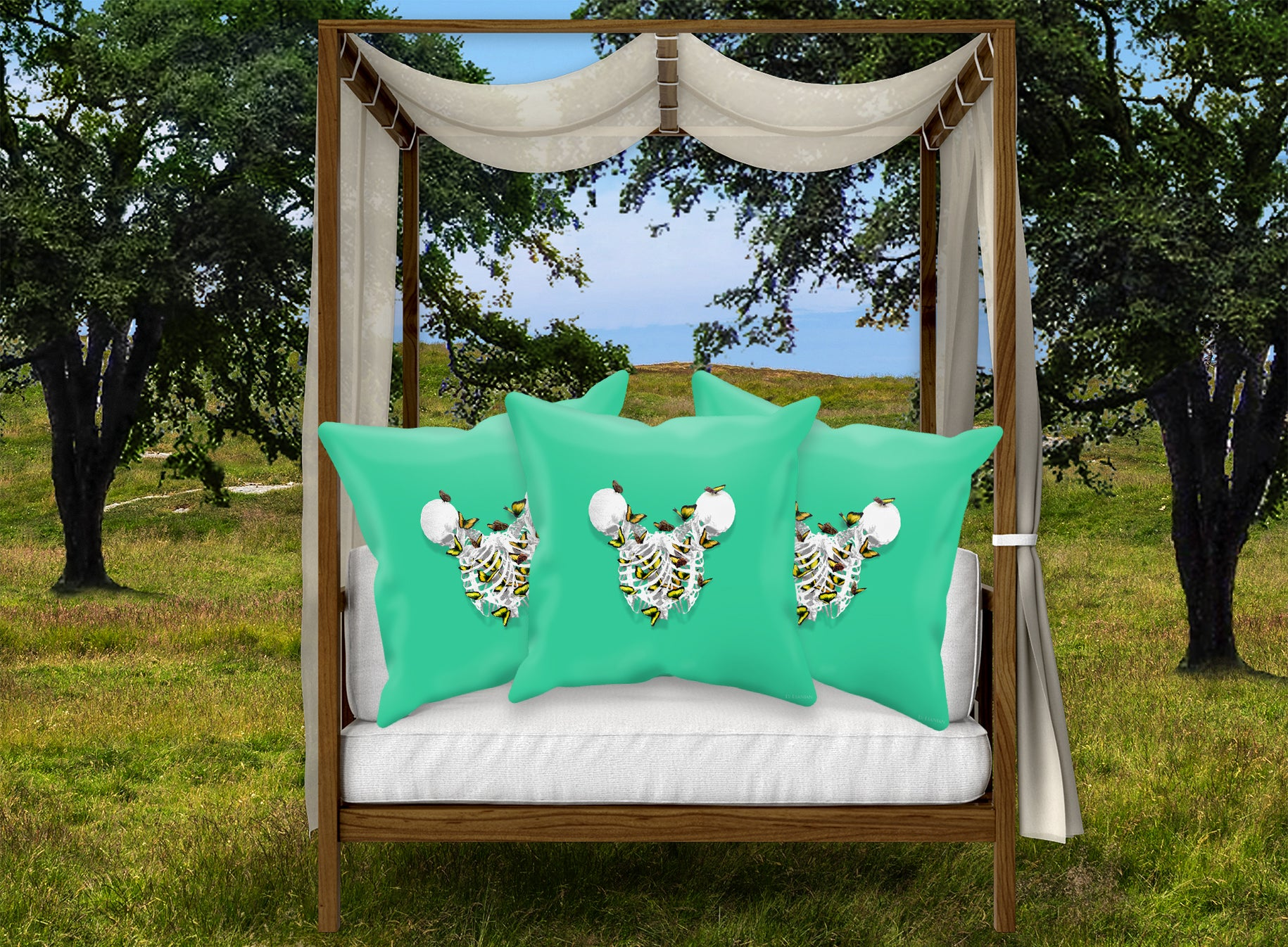 Versailles Divergence Golden Skull Duality- French Gothic Satin & Suede Pillowcase in Bold Jade Teal | Le Leanian™