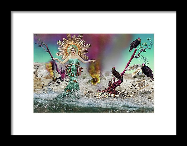 Book of Revelation Inspired Madonna on a beach with dead fish and Vultures.