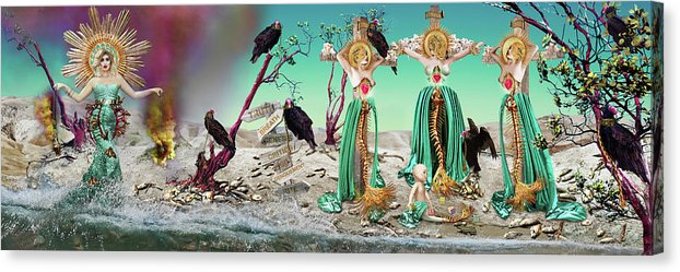 Religious, end times inspired portrait of 4 women on a beach with dead fish. 3 women are dead mermaids on crosses surrounded by vultures.