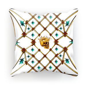 Golden Skull & Teal Stars- French Gothic Satin & Suede Pillowcase in Lightest Gray | Le Leanian™