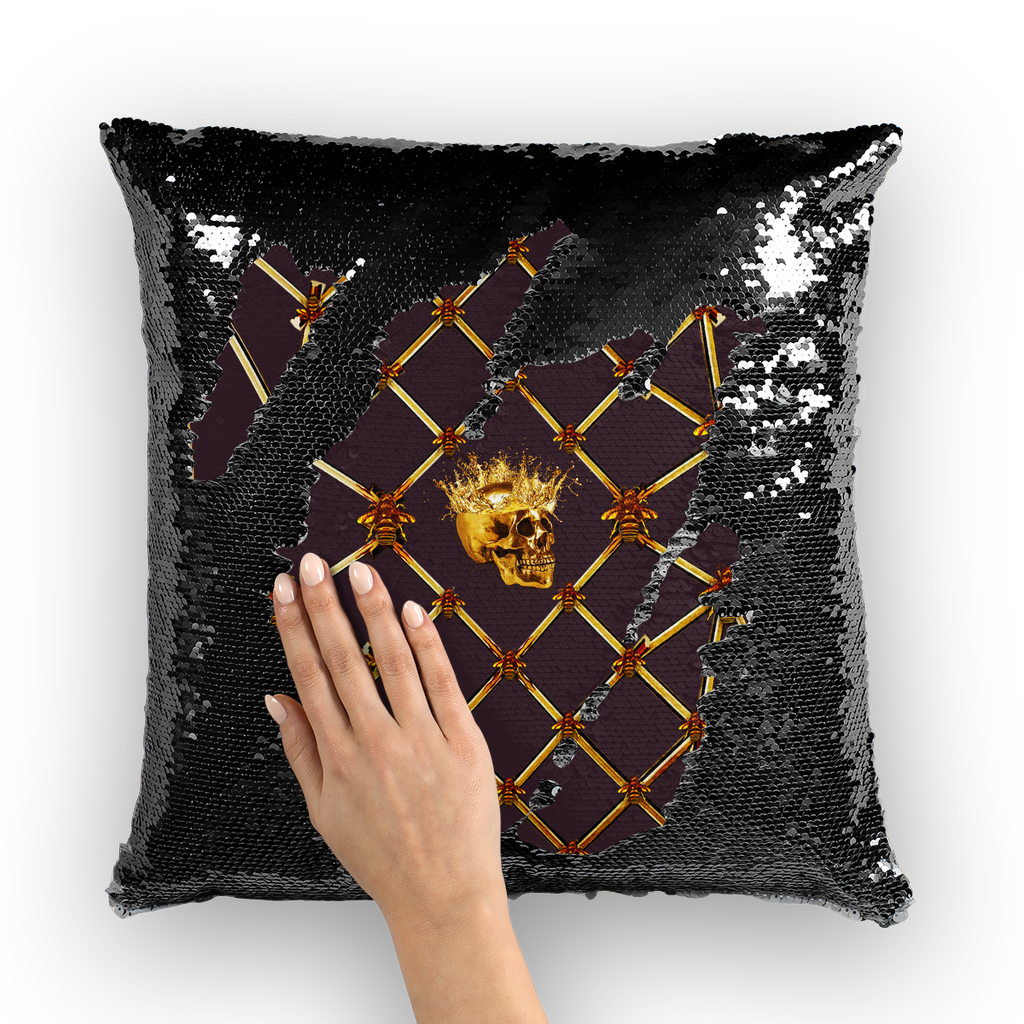 Golden Skull & Jade Star- French Gothic Sequin Pillowcase or Throw Pillow in Muted Eggplant Wine | Le Leanian­™