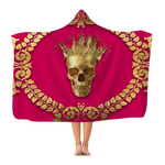 Polar Feece HOODED BLANKET-GOLD SKULL CROWN-GOLD WREATH-Color BOLD FUCHSIA, HOT PINK, BRIGHT PINK