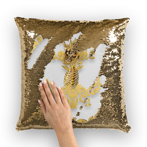 Gold Sequin Pillow Case-Throw Pillow-Gold WREATH, GOLD SKULL-Color Light GRAY