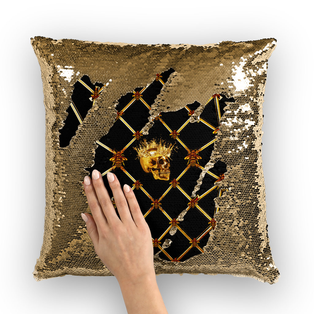 Gold Skull and Magenta Star-Honey Bee Pattern- Sequin Pillow Case, Cushion Cover-Goth Chic-French Goth-Throw Pillow in Color Black