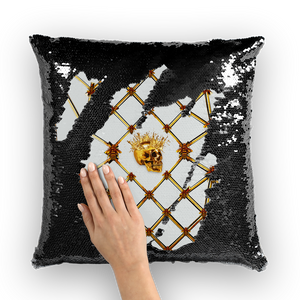 Golden Skull & Teal Star- French Gothic Sequin Pillowcase or Throw Pillow in Lightest Gray | Le Leanian™
