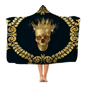 Polar Fleece hooded Blanket-GOLD SKULL & RIBS-GOLD WREATH-Color NAVY BLUE