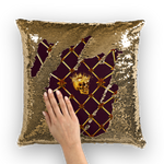 French Gothic Honey Bee & Rib Star Pattern-Sequin Pillowcase & Throw Pillow-Eggplant Wine Red Purple