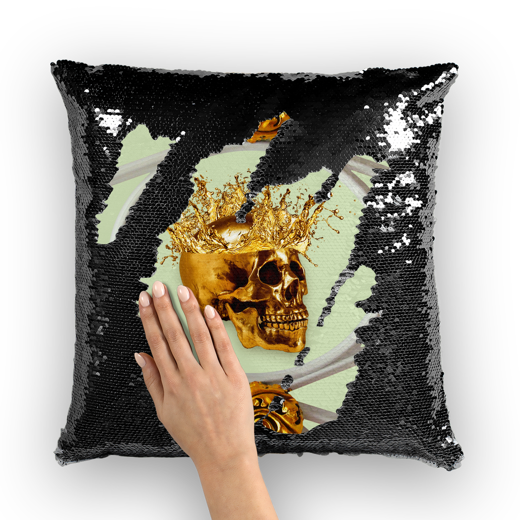 Versailles Golden Skull- French Gothic Sequin Pillowcase or Throw Pillow in Pale Green | Le Leanian™