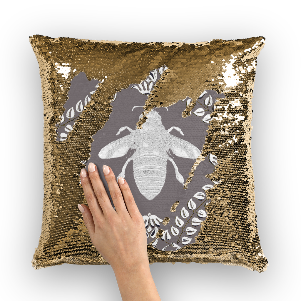 Queen Bee Gold Sequin Pillowcase-French Country Chic- Goth Chic- Pillow Case or Throw Pillow in Color Lavender Steel, Neutral Lavender, Purple