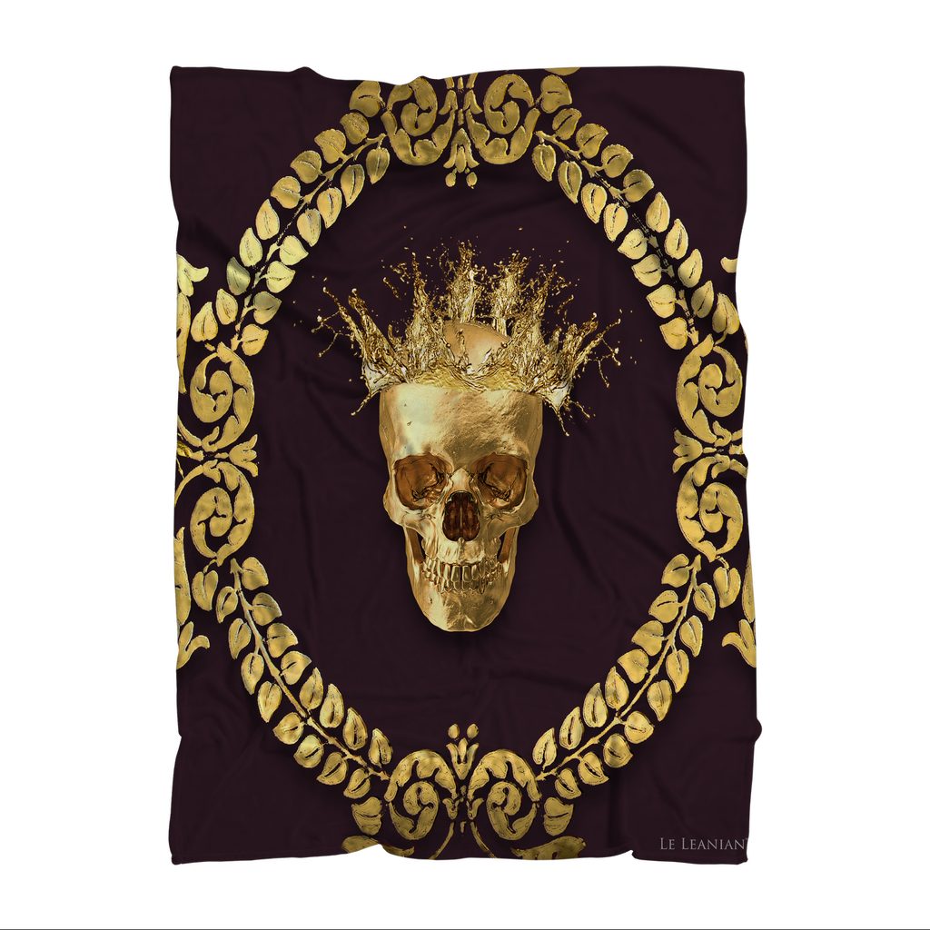 Caesar Gilded Skull- Classic French Gothic Fleece Blanket in Muted Eggplant Wine | Le Leanian™