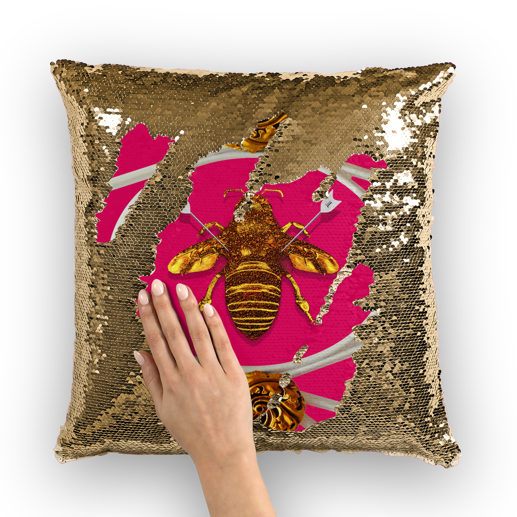 Versailles Queen Bee -French Gothic Sequin Pillow Case Throw Pillow- Fuchsia Pink