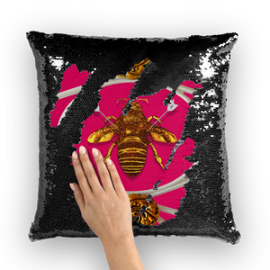 Versailles Bee Divergent- French Gothic Sequin Pillowcase or Throw Pillow in Bold Fuchsia | Le Leanian™