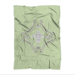 Queen Bee- Classic French Gothic Fleece Blanket in Pale Green | Le Leanian™