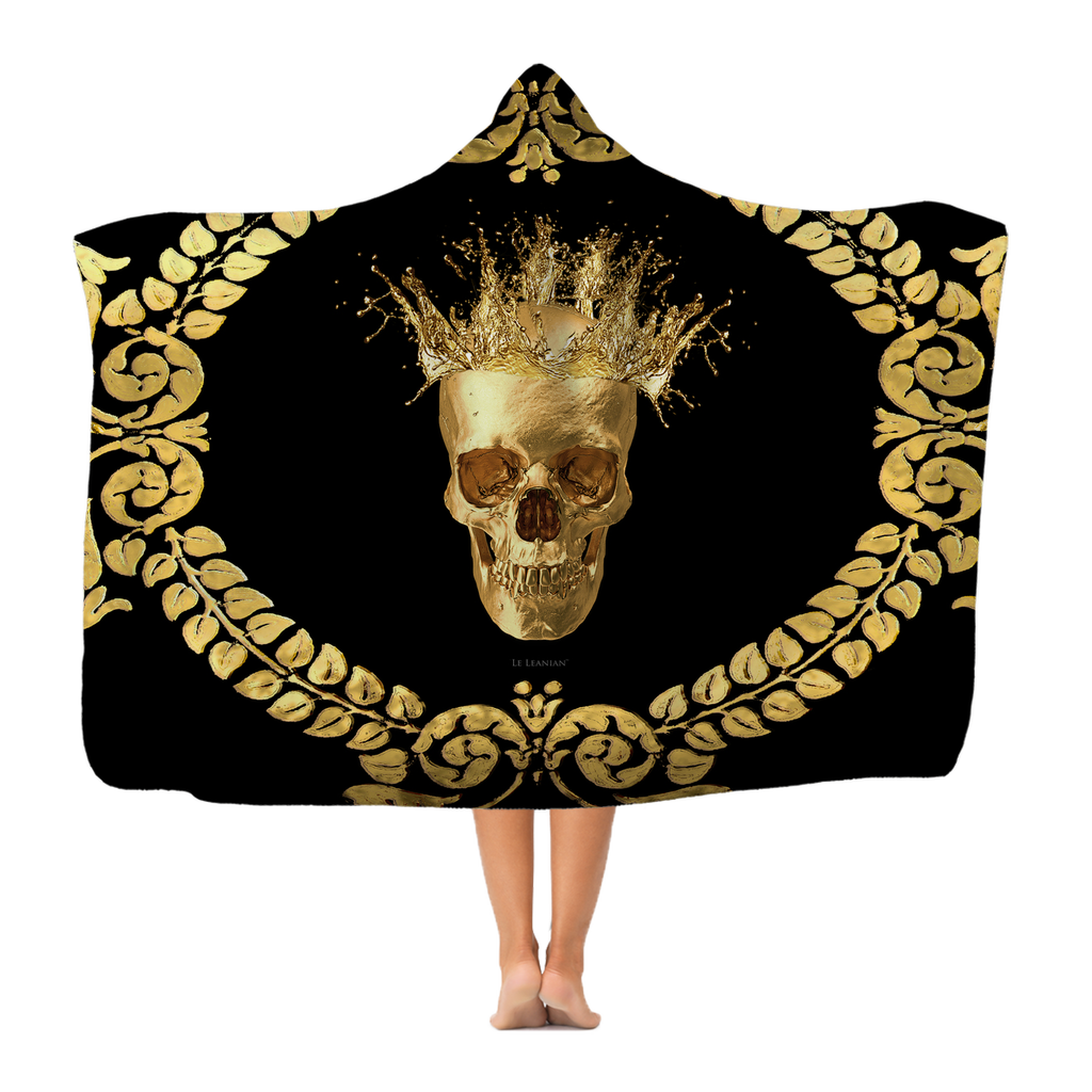 Polar Feece HOODED BLANKET-GOLD SKULL CROWN-GOLD WREATH-Color BLACK