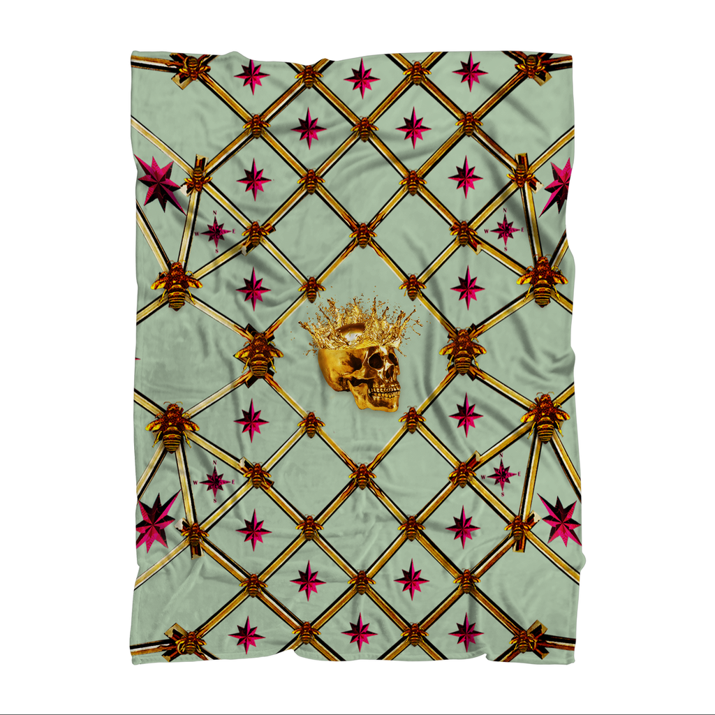 Skull Gilded Honeycomb & Magenta Stars- Classic French Gothic Fleece Blanket in Pastel | Le Leanian™