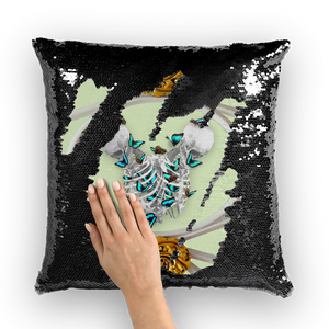 Versailles Gilded Skull Divergence Teal Whispers-French Gothic Sequin Pillowcase or Throw Pillow in Pale Green | Le Leanian™