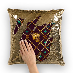 French Gothic Honey Bee & Rib Pattern-Sequin Pillowcase & Throw Pillow- Eggplant Wine Purple