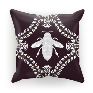 Queen Bee Baroque Satin Pillowcase- in Eggplant Wine Purple