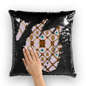 Bee Divergence Gilded  Ribs & Teal Stars- French Gothic Sequin Pillowcase or Throw Pillow in Nouveau Blush Taupe | Le Leanian™