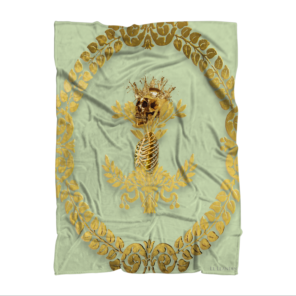 Caesar Skull Relief- Classic French Gothic Fleece Blanket in Pale Green | Le Leanian™