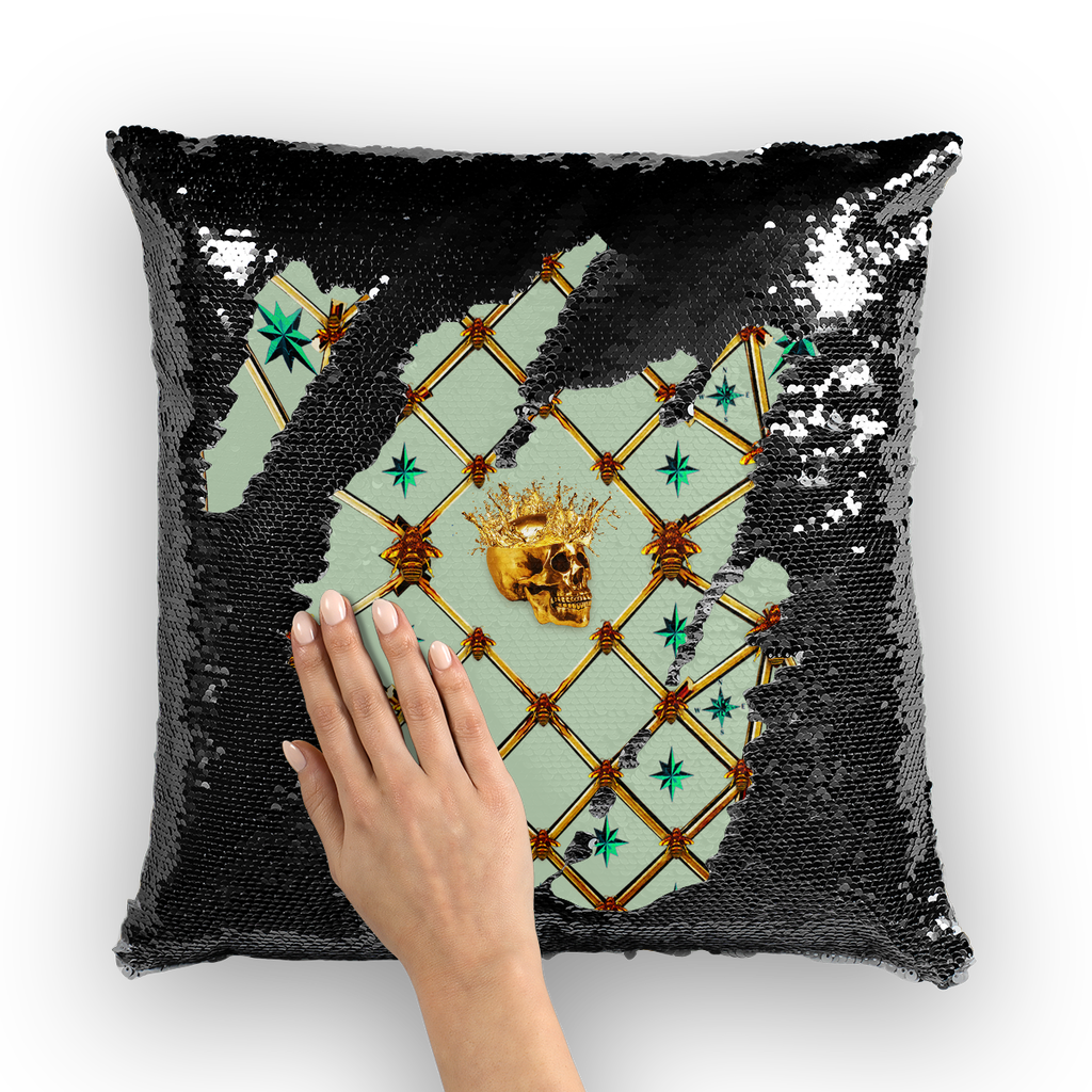 Golden Skull & Jade Stars- French Gothic Sequin Pillowcase or Throw Pillow in Pastel | Le Leanian™