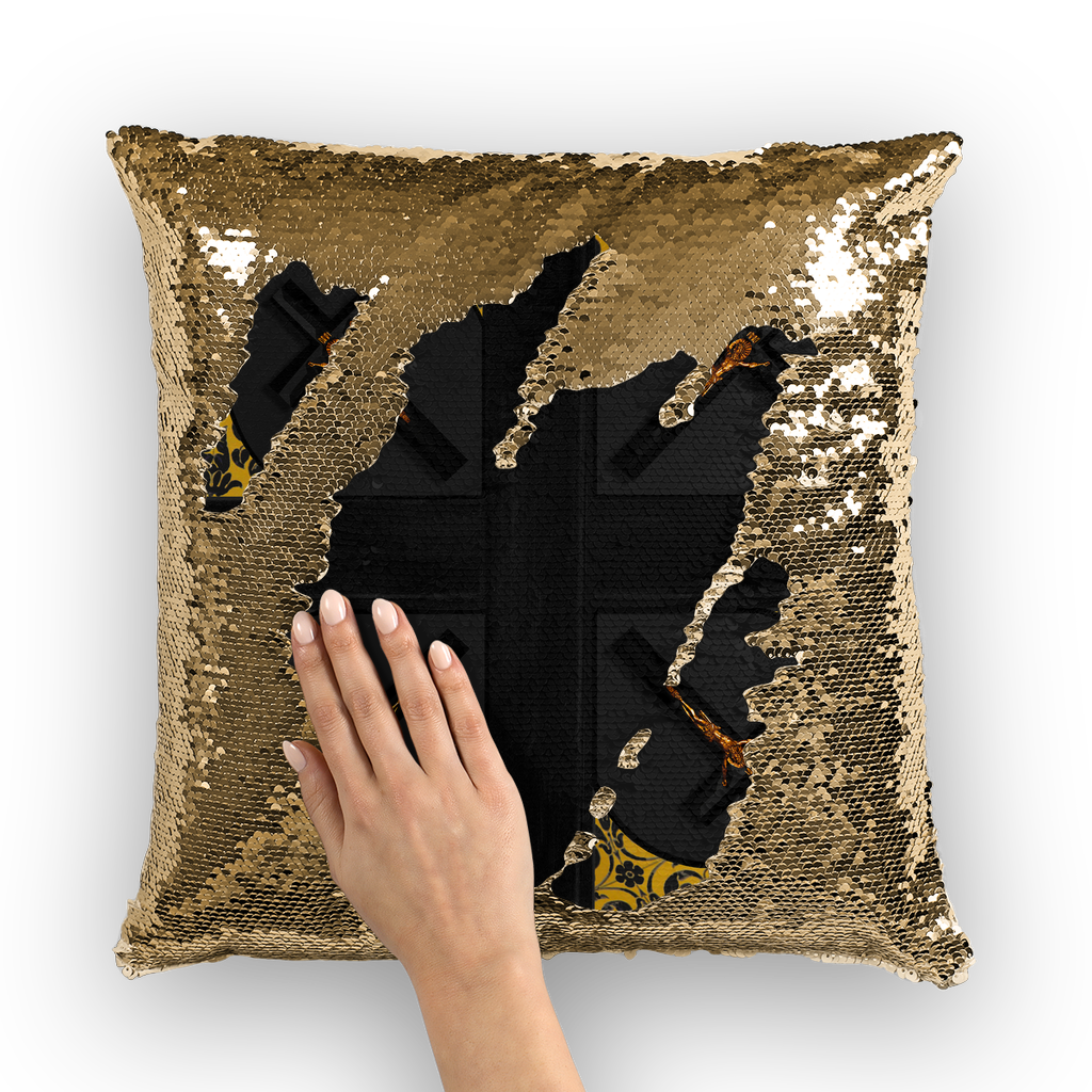 Crossroad Crucifix Gothic Sequin Pillowcase-Throw Pillow- Charcoal Gray