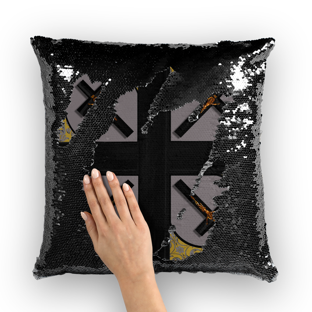 Crossroads Crucifix- French Gothic Sequin Pillowcase or Throw Pillow in Lavender Steel | Le Leanian™