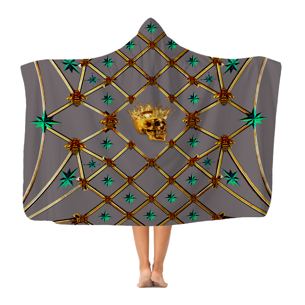 Skull Gilded Honeycomb & Jade Stars- Adult & Youth Hooded Fleece Blanket in Lavender Steel | Le Leanian™
