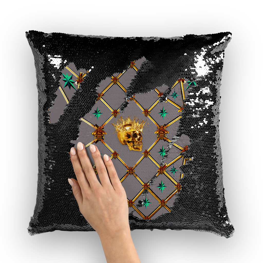 Golden Skull & Jade Stars- French Gothic Sequin Pillowcase or Throw Pillow in Lavender Steel | Le Leanian™