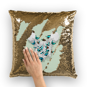 Siamese Twin Skeletons with Morpho Butterflies escaping through the ribs- Gold Sequin Pillow Case