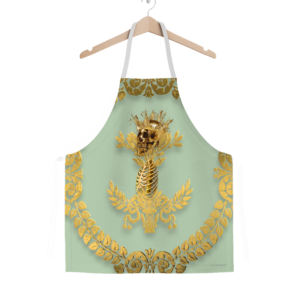 GOLD SKULL & GOLD WREATH-Classic APRON in Color PASTEL BLUE
