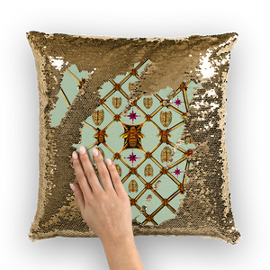 Sequin Gold Pillowcase & Throw Pillow-Honey Bee & Rib Print- Pastel Blue