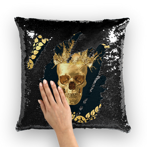 Ceasar Gilded Skull- French Gothic Sequin Pillowcase or Throw Pillow in Midnight Teal | Le Leanian™
